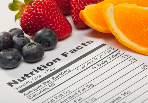 Fruit and Nutrition Label
